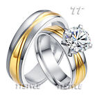 TTstyle Two-Tone Gold S.Steel Engagement Wedding Band Ring Set Size 6-15 NEW