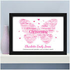 PERSONALISED CHRISTENING FRAMED PRINT, Boy/Girl, Word Art Picture Gift Present
