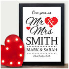 1st PAPER Wedding Anniversary Gift PERSONALISED One Year As Mr & Mrs Wife Gifts