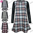 Womens Ladies Celeb Gill Tartan Check Printed Full Sleeve Tunic Swing Dress Tops