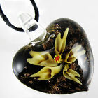 Fashion Handmade Flower Heart Lampwork Art Murano Glass Bead Pendant Necklace
