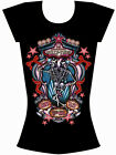 Too Fast Brand Skelly Twins Burnout T Shirt Goth Rockabilly Punk Top Gothic Tee