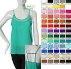 Women's STRAPPY CAMI TankTop  LACE PANELED  Semi Sheer Top Multi color