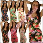 Sexy Women's Floral Mini Dress Ladies Summer Casual Top One Size 6,8,10,12 UK