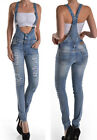 Women Denim JEANS Overall Destroy Long Skinny Pants Jumper Ripped Distressed