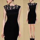Womens Ladies Sexy Lace Cocktail Evening Party Bodycon Pencil Skirt Dress 610246
