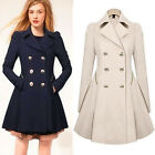 Fashion Womens Designer Double-breasted Jacket long outwear Slim Fit Trench Coat