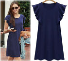 Summer Women Falbala Short Sleeve Casual Shirts Dress Cozy Loose Skirts 6COLOR