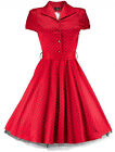 Hearts & Roses Red Alana Shirt Dress 50's Rockabilly Vintage Pinup Pus Size 8-26