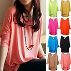 Casual Women Oversized Batwing Short Sleeve Cotton Blouse Tops T-shirt 16 Colors