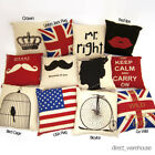 "Filled 18"" (45 cm) Linen Vintage Design Cushion Covers with Inner Pad"