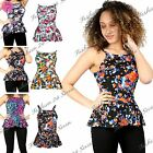 Womens Ladies Sleeveless Strap Flared Frill Skater  High Neck Floral Peplum Top