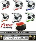 Superb FULL CARBON KEVLAR - ACU Gold HD210 GP Stealth Motorcross MX Helmet -