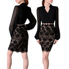 Womens Lace Floral Long Sleeve Splice Formal Ball Evening Party Cocktail Dress