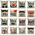 Funny Pillow Case Cushion Cover Mr right and Mrs always right Home Wedding Party