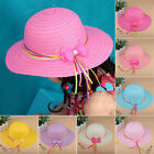 Kids Girls Hollow Brim Ribbon Bow Beach Sun Hat Straw Floppy Bohemia Cap
