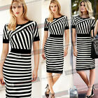 2015 Womens Elegant Fitted Striped Colorblock Casual Work Party Sheath Dress 489