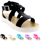 Womens Shoes T-Strap Cleated Sole Open Toe White Flatform Jelly Sandals UK 3-9