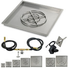 American Fireglass Square Fire Pit Drop In Tray with Spark Ignition Kit