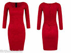 Ladies Bodycon Red Lace Midi Long Sleeve Dress Sexy Square Neck Evening Cocktail