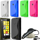 S LINE WAVE GEL CASE COVER ACCESSORIES FOR NOKIA LUMIA 520 & FILM STYLUS CHARGER