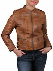 UK Vintage Ladies Women's Real Leather biker Jacket Casual Fit Designer Look