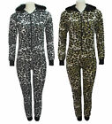 Womens Ladies Leopard  All In One Printed Zip Up Hoodie Onesie Playsuit Jumpsuit