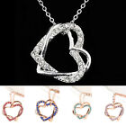 Women Lovely 9 Color Silver Plated 2 Heart Twining Pendant Necklace 0447