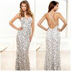 NWT TERANI P3157 IVORY/BLACK CRISS CROSSOPEN BACK SEQUINED GOWN $479 AUTENTIC