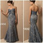 NWT JOVANI 171569 Mermaid strapless sweetheart with lace appliqué blue nude$1126