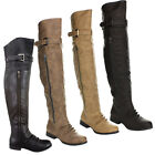 Top Moda LAND-4 Women's Over The Knee Buckle Riding Boots