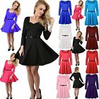 Women Ladies 3/4 Sleeve Square Neck Belted Flared Franki Party Mini Skater Dress