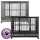 Heavy Duty Rolling Dog Cage Crate Kennel House with Metal Pan