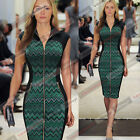 Womens Elegant Colorblock Front Zip Work Summer Casual Party Bodycon Dress 452