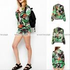 Vintage Floral Printed Jungle Style Women Long Sleeves Zipper Coat Outerwear FUS