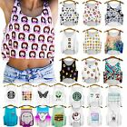 Vary Size Women Emoji Crop Tank Top Skull Cartoon Blouse Sleeveless T Shirt Tees