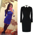 Womens Lady Spring Autumn Black Peter Pan Collar Long Sleeve Slim Bodycon Dress
