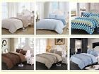 3Pc Homehug Comforter Concise Crease Defense Queen Size Solid Color US Stock