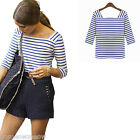 Womens Lady Blue & White Stripe T-Shirt Summer Blouse Cotton Tee Tops
