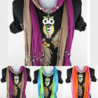 Fashion Women's Crystal Owl Pendant Shawl Jewelry Scarf Necklace Accessories