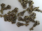 30 / 50 Cute Bronze Plated Tibetan Small Key Charm Pendants Kitch 20mm x 8mm