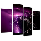 MSC018 Lightning Strike Canvas Wall Art Multi Panel Split Picture Print