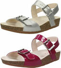 CLARKS VolkinIcon Silver or Raspberry Girls Leather Sandal