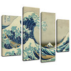 MSC410 Great Wave of Kanagawa Canvas Wall Art Multi Panel Split Picture Print