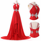 Long Chiffon Gown Prom Bridal Party Evening Bridesmaid Wedding Dresses RED Plus