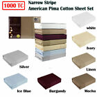 1000TC American Pima Cotton Narrow Stripe Sheet Set by Ramesses QUEEN KING