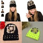 Unsex Women Men Rivet Hat Knitwear Winter Warmth Cap Punk Hip Hop Hats Caps Z