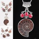 Red Coral Synthetic Pearl Gemstone Druzy Ammonite Fossil 18KGP Pendant Jewelry