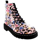 Womens T.U.K Anarchic 7 Eye Boot Floral Prints Leopard Ankle High Boots US 5-11