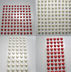 100 x 6mm or 50 x 10mm Stick on, Self Adhesive Pearl Hearts in Ivory or Red